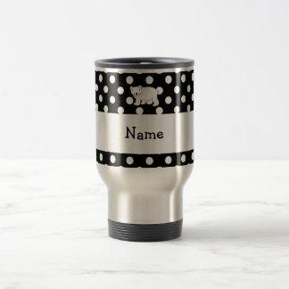 Personalized name polar bear black white polka dot 15 oz stainless steel travel mug