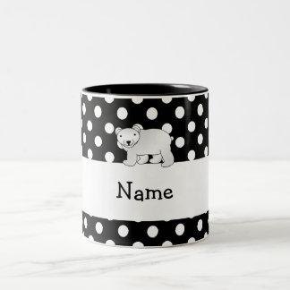 Personalized name polar bear black white polka dot Two-Tone coffee mug
