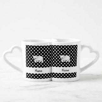 Personalized name polar bear black white polka dot couples' coffee mug set