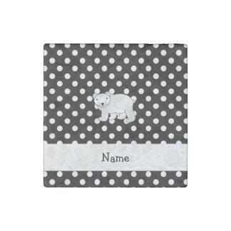Personalized name polar bear black white polka dot stone magnet