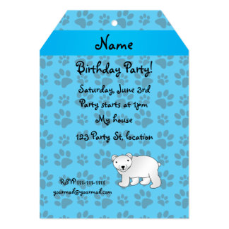 Personalized name polar bear blue paw pattern card