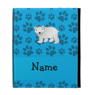 Personalized name polar bear blue paw pattern iPad folio cover