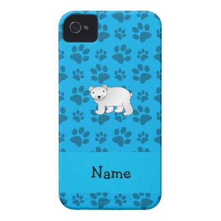 Personalized name polar bear blue paw pattern iPhone 4 case