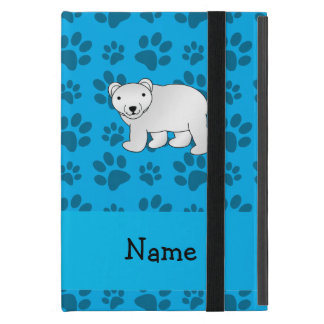 Personalized name polar bear blue paw pattern cover for iPad mini