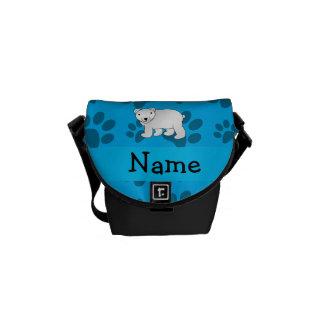 Personalized name polar bear blue paw pattern messenger bag
