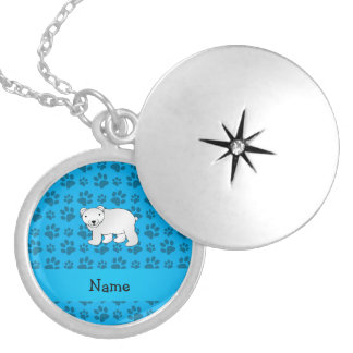 Personalized name polar bear blue paw pattern round locket necklace