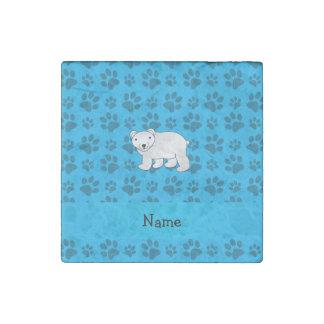 Personalized name polar bear blue paw pattern stone magnet