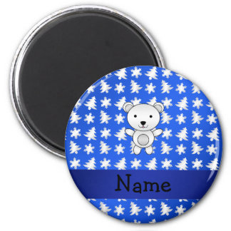 Personalized name polar bear blue snowflakes 2 inch round magnet