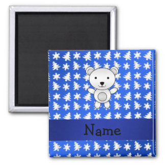 Personalized name polar bear blue snowflakes 2 inch square magnet