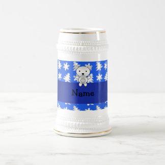 Personalized name polar bear blue snowflakes 18 oz beer stein
