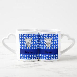 Personalized name polar bear blue snowflakes couples' coffee mug set