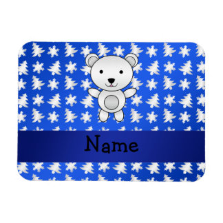Personalized name polar bear blue snowflakes rectangular photo magnet