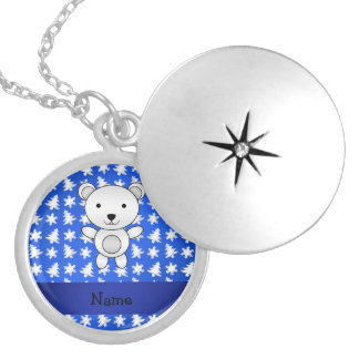 Personalized name polar bear blue snowflakes round locket necklace