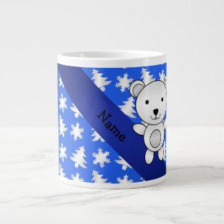 Personalized name polar bear blue snowflakes 20 oz large ceramic coffee mug