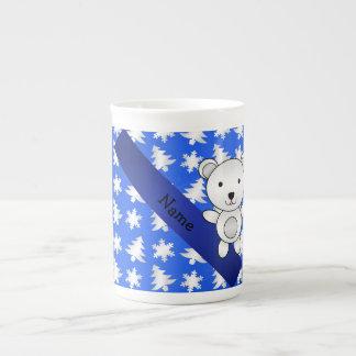 Personalized name polar bear blue snowflakes tea cup