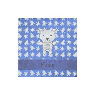Personalized name polar bear blue snowflakes stone magnet