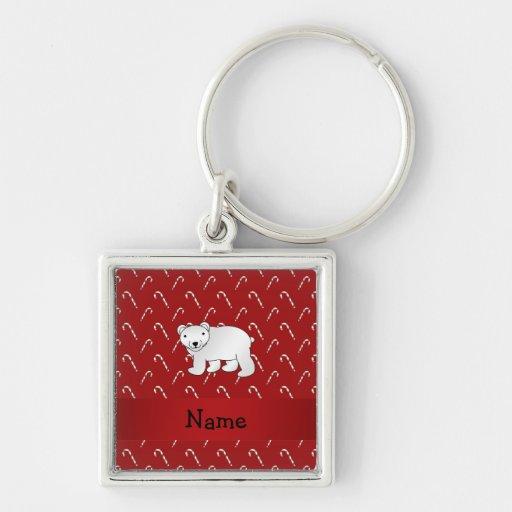 Personalized name polar bear candy cane pattern keychain