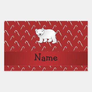 Personalized name polar bear candy cane pattern rectangular sticker