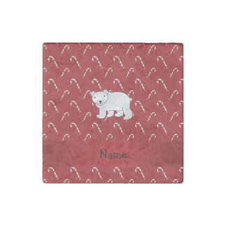 Personalized name polar bear candy cane pattern stone magnet