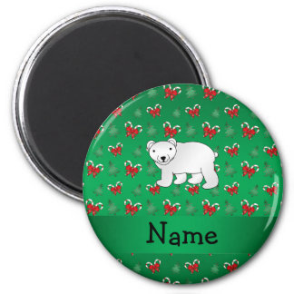 Personalized name polar bear green candy canes bow 2 inch round magnet