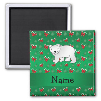 Personalized name polar bear green candy canes bow 2 inch square magnet