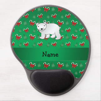 Personalized name polar bear green candy canes bow gel mouse pads