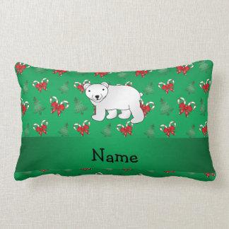 Personalized name polar bear green candy canes bow lumbar pillow