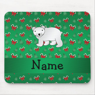 Personalized name polar bear green candy canes bow mouse pads