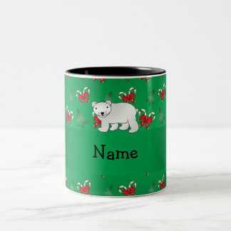 Personalized name polar bear green candy canes bow Two-Tone coffee mug
