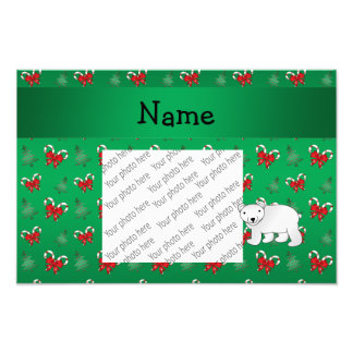 Personalized name polar bear green candy canes bow photo print