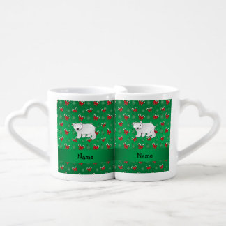 Personalized name polar bear green candy canes bow couples' coffee mug set