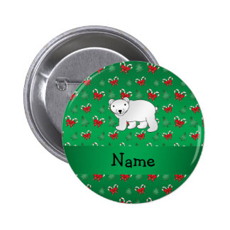 Personalized name polar bear green candy canes bow pinback button