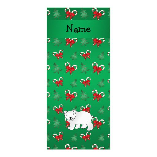 Personalized name polar bear green candy canes bow customized rack card