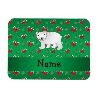 Personalized name polar bear green candy canes bow rectangular photo magnet