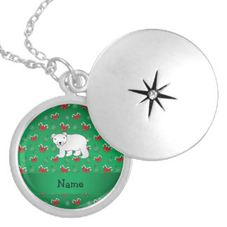 Personalized name polar bear green candy canes bow round locket necklace