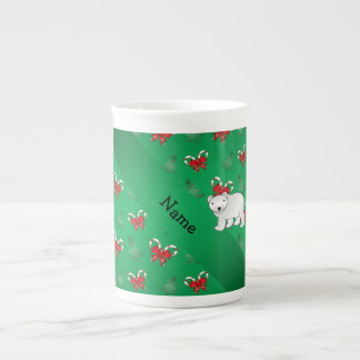 Personalized name polar bear green candy canes bow tea cup