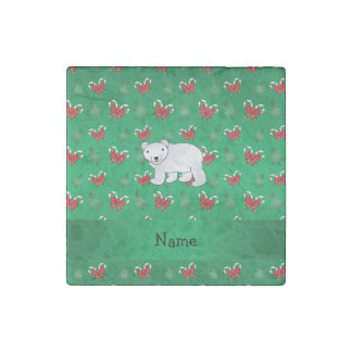 Personalized name polar bear green candy canes bow stone magnet