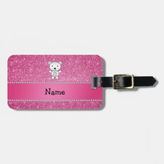 Personalized name polar bear pink glitter tags for luggage