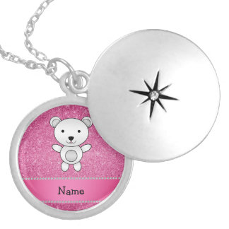 Personalized name polar bear pink glitter round locket necklace