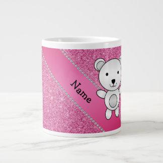 Personalized name polar bear pink glitter 20 oz large ceramic coffee mug