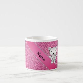 Personalized name polar bear pink glitter 6 oz ceramic espresso cup