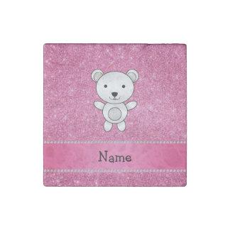 Personalized name polar bear pink glitter stone magnet