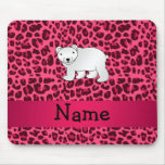 Personalized name polar bear pink leopard print mouse pad
