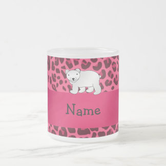 Personalized name polar bear pink leopard print 10 oz frosted glass coffee mug