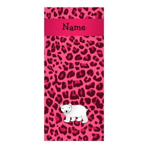 Personalized name polar bear pink leopard print rack cards
