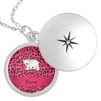 Personalized name polar bear pink leopard print round locket necklace