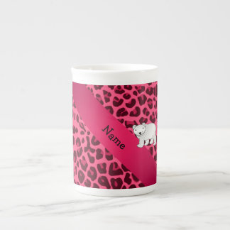 Personalized name polar bear pink leopard print tea cup
