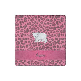 Personalized name polar bear pink leopard print stone magnet