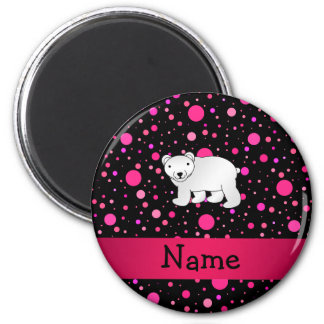 Personalized name polar bear pink polka dots 2 inch round magnet