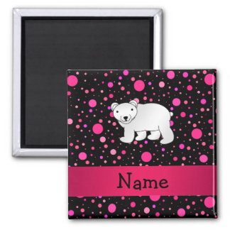 Personalized name polar bear pink polka dots 2 inch square magnet